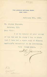 Autographs: THOMAS L. JAMES - TYPED LETTER SIGNED 02/09/1891