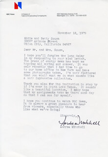 ANDREA MITCHELL - TYPED LETTER SIGNED 11/12/1979