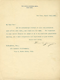 Autographs: THOMAS L. JAMES - TYPED LETTER SIGNED 03/23/1895