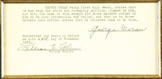 GEORGE BUGS MORAN - DOCUMENT SIGNED 11/28/1938 CO-SIGNED BY: LILLIAN E. COHEN