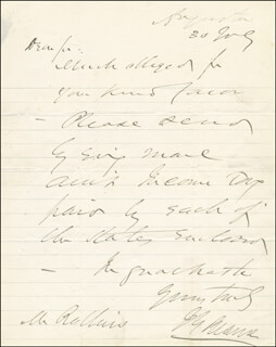 Autographs: JAMES G. BLAINE - AUTOGRAPH LETTER SIGNED 07/30/1869