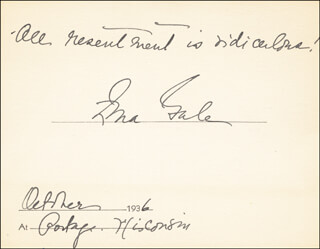 ZONA GALE - AUTOGRAPH QUOTATION SIGNED 10/1936