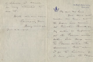 HENRY JACKSON VAN DYKE - AUTOGRAPH LETTER SIGNED 06/22/1909