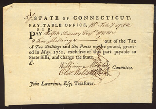 Autographs: OLIVER WOLCOTT JR. - PROMISSORY NOTE SIGNED 02/18/1782 CO-SIGNED BY: WILLIAM MOSELEY, HEZEKIAH ROGERS