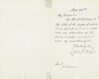 CHARLES J. FOLGER - AUTOGRAPH LETTER SIGNED CIRCA 1874