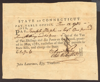 Autographs: OLIVER WOLCOTT JR. - PROMISSORY NOTE SIGNED 06/12/1782 CO-SIGNED BY: SAMUEL WYLLYS, ELEAZER WALES