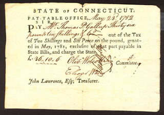 Autographs: OLIVER WOLCOTT JR. - PROMISSORY NOTE SIGNED 05/23/1782 CO-SIGNED BY: SAMUEL WYLLYS, ELEAZER WALES