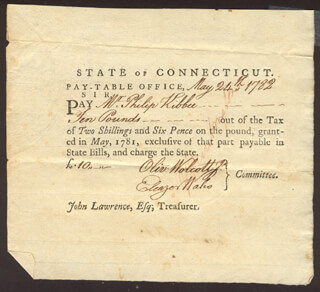 Autographs: OLIVER WOLCOTT JR. - PROMISSORY NOTE SIGNED 05/24/1782 CO-SIGNED BY: ELEAZER WALES, GENERAL JEDIDIAH HUNTINGTON