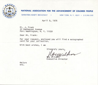 ROY WILKINS - TYPED LETTER SIGNED 04/09/1976
