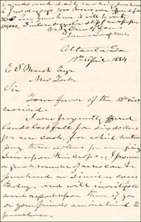 LT. GENERAL JAMES LEE'S WAR HORSE LONGSTREET - AUTOGRAPH LETTER SIGNED 04/19/1884