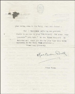 Autographs: OLAVE BADEN-POWELL - TYPED LETTER SIGNED 03/23/1925