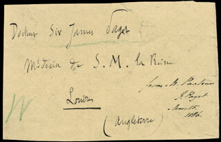 LOUIS PASTEUR - AUTOGRAPH ENVELOPE UNSIGNED CIRCA 1886 WITH SIR JAMES PAGET
