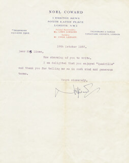 SIR NOEL COWARD - TYPED LETTER SIGNED 10/18/1952