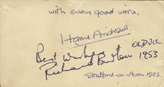 RICHARD BURTON - AUTOGRAPH 1953 CO-SIGNED BY: HARRY ANDREWS