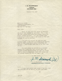 GENERAL JONATHAN M. WAINWRIGHT IV - TYPED LETTER SIGNED 12/10/1948