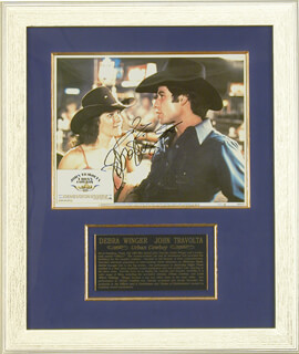 Autographs: URBAN COWBOY MOVIE CAST - LOBBY CARD SIGNED CO-SIGNED BY: JOHN TRAVOLTA, DEBRA WINGER