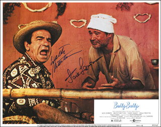 Autographs: THE BUDDY BUDDY MOVIE CAST - LOBBY CARD SIGNED CO-SIGNED BY: JACK LEMMON, WALTER MATTHAU
