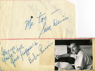 IRVING BABE RUSSIN - AUTOGRAPH NOTE SIGNED CO-SIGNED BY: JACK HOFFMAN, SAM WEISS