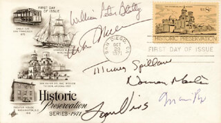 ARTHUR MILLER - FIRST DAY COVER SIGNED CO-SIGNED BY: NORMAN MAILER, MARIO PUZO, LEON URIS, WILLIAM PETER BLATTY, MICKEY SPILLANE