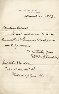 WILLIAM E. CHANDLER - AUTOGRAPH LETTER SIGNED 03/12/1883