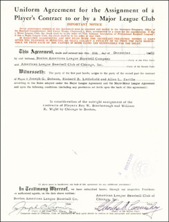 JOE CRONIN - DOCUMENT SIGNED 12/11/1950 CO-SIGNED BY: CHARLES COMISKEY JR.