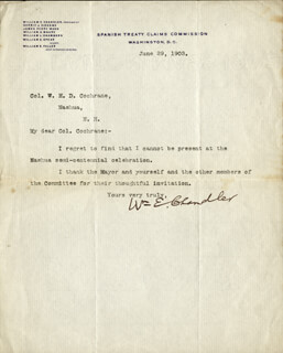 WILLIAM E. CHANDLER - TYPED LETTER SIGNED 06/29/1903