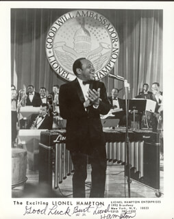 LIONEL HAMPTON - AUTOGRAPHED INSCRIBED PHOTOGRAPH