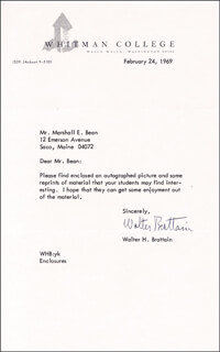 Autographs: WALTER BRATTAIN - TYPED LETTER SIGNED 02/24/1969
