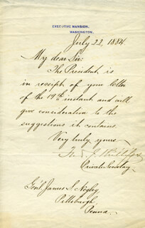 GENERAL FRED J. PHILLIPS - MANUSCRIPT LETTER SIGNED 07/22/1884