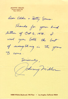 JOHNNY MILLER - AUTOGRAPH LETTER SIGNED