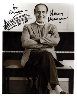 HENRY MANCINI - INSCRIBED MUSICAL QUOTATION ON PHOTO SIGNED