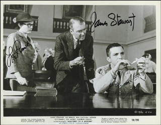 Autographs: ANATOMY OF A MURDER MOVIE CAST - PHOTOGRAPH SIGNED CO-SIGNED BY: LEE REMICK, JAMES JIMMY STEWART, BEN GAZZARA