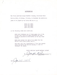 JOE CRONIN - DOCUMENT SIGNED 01/25/1954