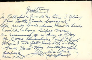 Autographs: CAPTAIN JACK THE POET SCOUT CRAWFORD - AUTOGRAPH POEM SIGNED 03/07/1914