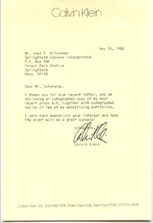 CALVIN KLEIN - TYPED LETTER SIGNED 11/15/1982