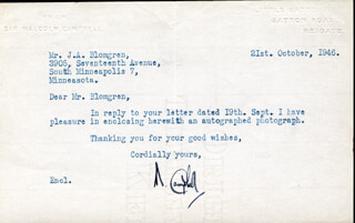 Autographs: SIR MALCOLM CAMPBELL - TYPED LETTER SIGNED 10/21/1946