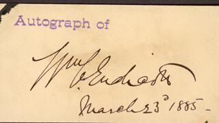WILLIAM C. ENDICOTT - AUTOGRAPH 03/23/1885