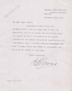 Autographs: WILLIAM RICHARD MORRIS - TYPED LETTER SIGNED 11/23/1933