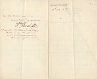 WILLIAM C. ENDICOTT - MANUSCRIPT LETTER SIGNED 12/13/1886
