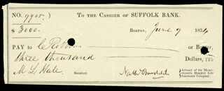 NATHANIEL BOWDITCH - AUTOGRAPHED SIGNED CHECK 06/09/1834 CO-SIGNED BY: M. L. HALE