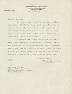 HENRY CREW - TYPED LETTER SIGNED 03/20/1929