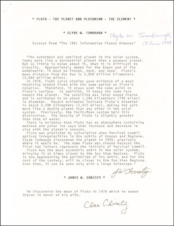 Autographs: CLYDE WILLIAM TOMBAUGH - TYPESCRIPT SIGNED 06/19/1991 CO-SIGNED BY: JAMES W. CHRISTY, CHAR CHRISTY, GLENN T. SEABORG