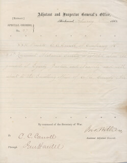 MAJOR GENERAL JOHN MITCHELL WITHERS - MANUSCRIPT DOCUMENT SIGNED 02/02/1865