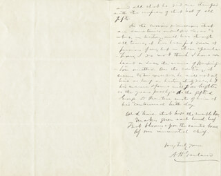 AUGUSTUS H. GARLAND - AUTOGRAPH LETTER SIGNED 04/02/1889