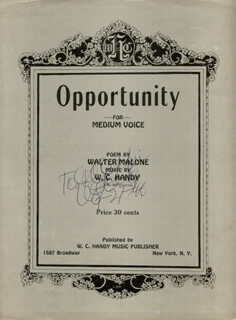 Autographs: W.C. HANDY - INSCRIBED SHEET MUSIC SIGNED 09/27/1946
