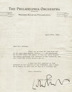 LEOPOLD STOKOWSKI - TYPED LETTER SIGNED 04/29/1926
