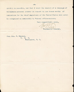 Autographs: WILLIAM F. VILAS - TYPED LETTER SIGNED 11/17/1886
