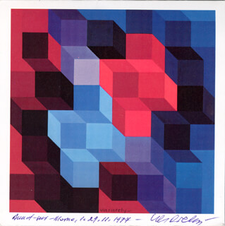 VICTOR VASARELY - GREETING CARD SIGNED 11/29/1974