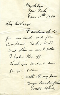 MAJOR GENERAL JOSEPH FIGHTIN' JOE WHEELER - AUTOGRAPH LETTER SIGNED 01/11/1904