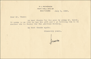 H. L. (HENRY LOUIS) MENCKEN - TYPED LETTER SIGNED 07/03/1929
